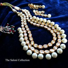 Diamonds and pearls - a girl's best friend! The Saloni Collection Hira Moti Necklace