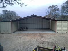Gabled Enclosed Attachment, Floresville, Texas - Carport Patio Covers Awnings San Antonio - Best Prices in San Antonio! Shipping Container Workshop, Shipping Container Storage, Shipping Container Buildings, Shipping Container Home Designs, Shipping Containers, Metal Storage Containers, Garage Design, House Design, Floresville Texas