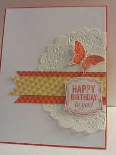 "use lovely labels ""enjoy"" and stamp words on a scrap and then flag the ends and cover over the word ""enjoy"" on the stamp for a birthday card or thank you, etc."