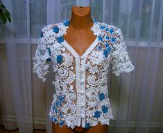Freeform Crochet, Irish Crochet, Crochet Lace, Crochet Russe, Japanese Crochet, Crochet Square Patterns, Lace Outfit, Irish Lace, Lace Tops