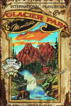 Glacier National Park, Montana, vintage campy sign