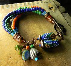 African Krobo Trade Bead Bracelet Mixed Metal OOAK by ChrysalisToo, $78.00
