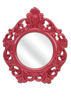 Wall mirror with a Baroque-inspired frame. Product: MirrorConstruction Material: Vinyl, mirrored glass, and MDF. Wall Mounted Mirror, Round Wall Mirror, Floor Mirror, Mirror Mirror, Pink Mirror, Wall Mirrors, Mirror Ideas, Fancy Mirrors, Mirror Image