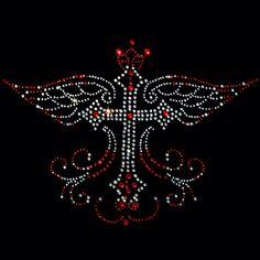 10x7  - Rhinestone Winged Cross - crosses, rhinestones, wings, Material Transfer, Crosses & Fleurs De Lis, Wings, Religion