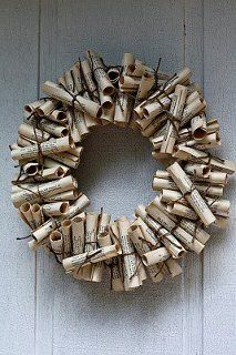 beau m. holiday...old book page wreath