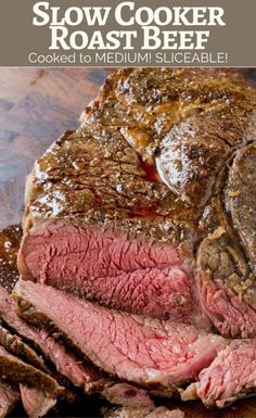 Slow Cooker Roast Beef that you can slice into tender slices cooked to a perfect medium temperature. Enjoy for dinner or sliced thinly in sandwiches, you will never buy the deli variety again! Slow Co Crock Pot Recipes, Roast Beef Recipes, Rare Roast Beef, Tofu Recipes, Angus Beef Roast Recipe, Slow Cooker Desserts, Slow Cooker Recipes, Cooking Recipes, Slow Cooking