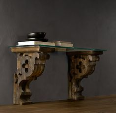 Corbel Glass Console similar to this Restoration Hardware one will make a great DIY project for nightstands!