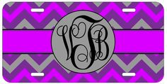 Personalized Monogrammed Chevron Purple Grey License Plate Custom Car Tag L433