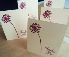Blank thank you note card set hand stamped by PiccadillyStation, $10.00