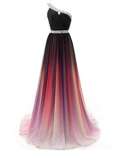 Cheap One Shoulder Ombre Beaded Long Evening Prom Dresses Prom Dresses, Long Evening Dresses, Prom Dress Cheap, Ombre Prom Dress, Chiffon Evening Dresses Prom Dresses 2020 Ombre Prom Dresses, Cute Prom Dresses, Cheap Bridesmaid Dresses, Pretty Dresses, Beautiful Dresses, Wedding Dresses, Elegant Dresses, Dress Prom, Chiffon Dresses