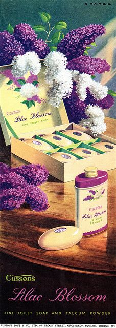 An absolutely lovely lilac filled vintage beauty product ad....talc and body bar