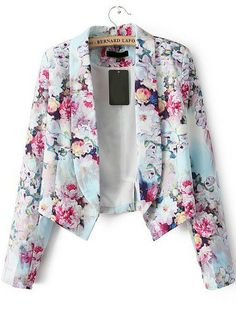 Red Long Sleeve Floral Crop Fitted Blazer pictures $33
