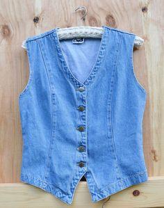 New Listing Vintage Jean Vest Womens Denim Vest by founditinatlanta on Etsy, $25.00