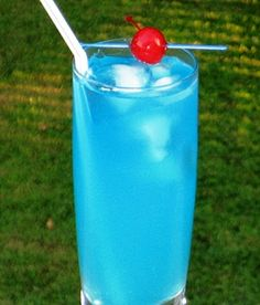 Blue Lagoon...1 1/2 oz Vodka, 1 oz Blue Curacao, 6 oz Limeade (or Lemonade), & a Cherry for garnish...Pour all of the ingredients into an ice filled Collins glass. Stir well, garnish with the cherry, insert a long straw. Enjoy!