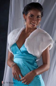 Faux Fur Bolero jacket shrug winter wedding Formal by sewudesigns, $60.00