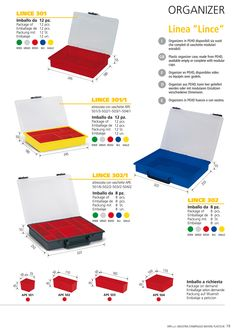 Plastic organizer case, made in PEHD, available empty or equipped with modular cups.