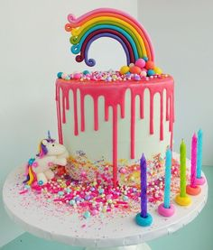 Rainbow and Unicorn Cake Rainbow Birthday Cake Unicorn birthday cake - . Rainbow Birthday Party, Birthday Cake Girls, Sweetie Birthday Cake, 4th Birthday, 15th Birthday Cakes, Birthday Ideas, Torta Candy, Bolo Tumblr, Cake Rainbow