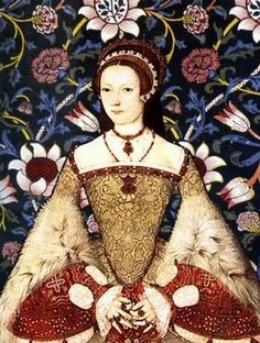 Portrait of Katherine Parr, sixth and final wife of King Henry VIII, superimposed on a modern print background.