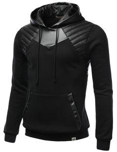 Leather Padding Fleece Hoodie Armor Sweatshirt - CLOTHING