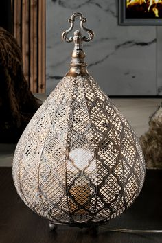 Grey brown, oriental design, metal, lamp by Schuller. Item No. Perforated Metal, Oriental Design, Moroccan Style, Brown And Grey, Table Lamp, Ceiling Lights, Led, Lighting, Elegant