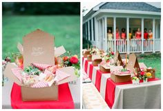 A Fabulous Picnic Wedding Theme or a perfect idea for a shower as well. I love this