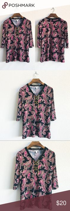 High Quality Paisley 3/4 Sleeve Top Pre-loved but in great condition! No stains or snags upon inspection.    PRODUCT DETAILS: •Size: Large •Colors: Black, Pink, Taupe, Cream, Gold, Red •Made in Philippines •Measurements: Chest-20inch Length-28inch •3/4 Sleeve  •94% polyester, 6% spandex •V-neck with heavy gold chain Lace up •Paisley Print  •Machine wash •Heavy High Quality Material   Tags: blouse shirt work business professional career church dinner womans evening Charter Club Tops Blouses