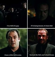 puns from the King of Hell - I think Crowley is my favorite Demon out of them all. Funny Supernatural Memes, Supernatural Fandom, Supernatural Wallpaper, Johnlock, Destiel, Prince Gumball, All Tv, Senior Quotes, Super Natural