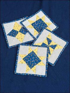Quilting - Home Decor - Table Topper Quilt Patterns - Star Shine Quilted Coasters Pattern - #FQ00387
