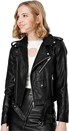 LJYH Womens Zipper Motorcycle Biker Faux Leather Jackets