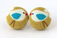 Bird stud earrings mustard yellow blue white children kids. €9,00, via Etsy.