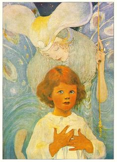 ".""You have a guardian angel  who keeps you safe and brings you home.""  illustration by Jessie Willcox Smith"