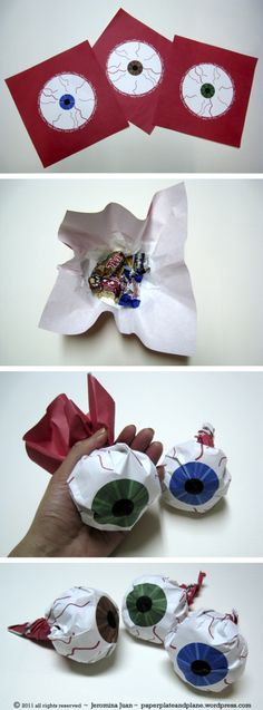 halloween-treats-eyeball-paper-packages May have to do these as favors for the Mad Scientist Themed human body party Halloween Care Packages, Halloween Treat Bags, Halloween Goodies, Holidays Halloween, Halloween Kids, Happy Halloween, Halloween Decorations, Halloween Party, Cheap Halloween