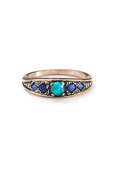 Anthropologie - Turquoise and Sapphire Band in 14k Rose Gold
