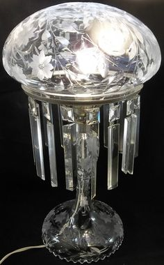 Gorgeous Vintage Cut Crystal Dome Table Lamp Long Prisms Light Butterfly Floral #unknown