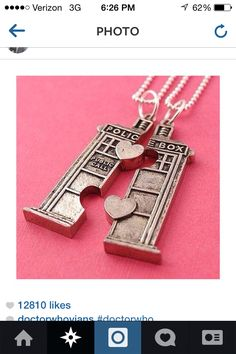 Awesome tardis BFF necklace