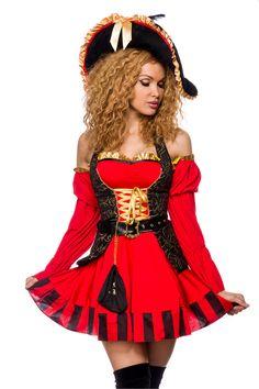 edles Piraten Kostuem rot-schwarz 1-14294-018