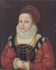 "Portrait of Elizabeth Smythe (b. 1572), daughter of Thomas ""Customer"" Smythe, 1579 (mis-dated 1573)."
