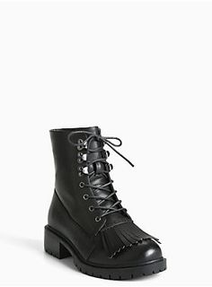 """Walk this way, these combat boots will guide you. The black faux leather combat style has major attitude with a lace up front, while a tassel toe lends a throwback touch. Lug sole shows you mean business.<div><ul><li style=""""LIST-STYLE-POSITION: outside !important; LIST-STYLE-TYPE: disc !important"""">1.5"""" heel with 0.5"""" lug sole</li><li style=""""LIST-STYLE-POSITION: outside !important; LIST-STYLE-TYPE: disc !important"""">Man-made materials</li><li style=""""LIST-STYLE-POSITION: outside !important…"""
