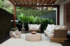 25 Comfy Patio Design Ideas With Style That Can Make Your Backyard More Perfect Outdoor Rooms, Outdoor Gardens, Outdoor Living, Outdoor Decor, Outdoor Furniture, Backyard Patio Designs, Backyard Landscaping, Living Spaces, Pergola Shade