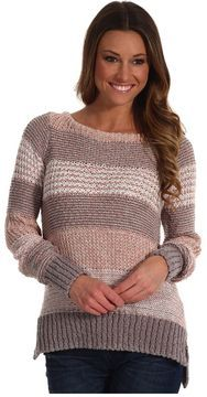 Rebecca Taylor - Multi Stripe L/S Crew Sweater (Neutral Combo) - Apparel on shopstyle.com