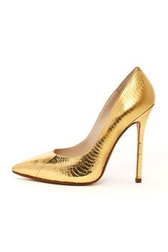 Wow - Gold AND snake Michael Kors Aberly Metallic Genuine Snake Pump Pointed Toe Pumps, High Heel Pumps, Pump Shoes, Stilettos, Crazy Shoes, Me Too Shoes, Fab Shoes, Baskets, Metallic Pumps