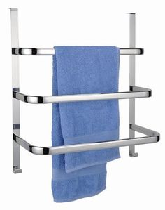 Handtuchhalter für die Tür mit 3 Stangen und 2 Haken - verchromt