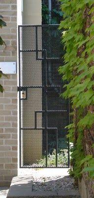 25 Ideas For Iron Door Design Modern Entrance Side Gates, Front Gates, Entrance Gates, Front Fence, Fence Doors, Door Gate, Fence Gate, Garage Doors, Fencing