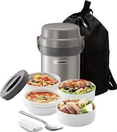 Mr. Bento lunchbox.  Four bowls that stack inside the stainless steel lunch box/can, which is vacuum insulated.  So cool!