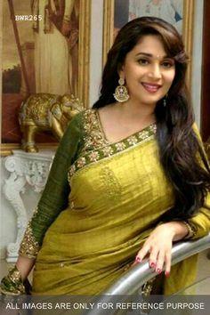 Madhuri Dixit Olive Green Saree|Traditional Sari|Ethnic Wear