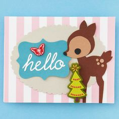Cute Reindeer Christmas Card - would use the pattern for embroidery