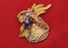 Jasper and Polymer Clay Dragon  Gold and by MixedMediaArtistry, $125.00