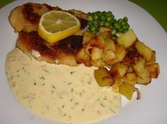 Seelachsfilet mit Senf – Dill – Soße Salmon filet with mustard – dill – sauce, a delicious recipe from the fish category. Easy Fish Recipes, Pork Chop Recipes, Meatloaf Recipes, Shrimp Recipes, Salmon Recipes, Crockpot Recipes, Chicken Recipes, Dill Sauce For Salmon, Salmon And Rice