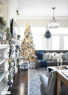 Christmas Home Tour Gorgeous Living Room Dressed In Blues Gold Silver And Flocked