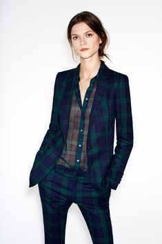 Tartan jacket, shirt, trousers .... Kasia Struss Models Zaras December 2012 Lookbook